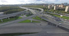 Car driving on road street highway overpass road ways ring road in Moscow Stock Footage
