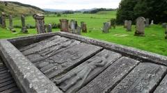 Kilmartin Stones, ancient graveslabs at Kilmartin cemetery, Argyll, Scotland Stock Footage