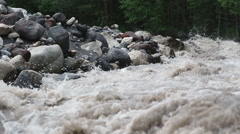 Mountain river with rapid flow Stock Footage