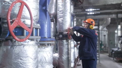 Boiler heating system inspection Stock Footage