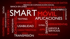 Smart, mobile, applications word tag cloud - red, Spanish variant Stock Footage