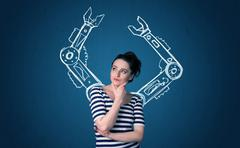 Robotic arms concept Stock Photos