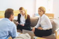 Successful businesspeople working in cooperation Stock Photos