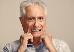 Scared old man. Stock Photos