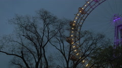 View of the ferris wheel from the ground, Vienna, Austria Stock Footage