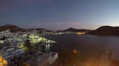 Dawn breaks over the Greek island of Patmos Stock Footage