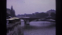 1967: nice view from a city bridge. PARIS FRANCE Stock Footage