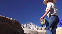 Cowboy, Alabama Hills, Mt. Whitney Stock Footage