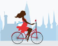 Walk a pregnant girl on the bike around Reykjavik Stock Illustration