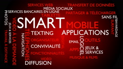 Smart, mobile, applications word tag cloud - red, French variant Stock Footage