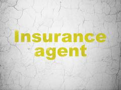 Insurance concept: Insurance Agent on wall background Stock Illustration