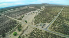 Aerial Desert Crossroads Stock Footage