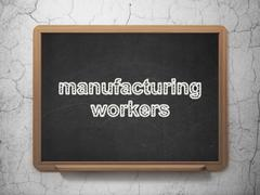 Manufacuring concept: Manufacturing Workers on chalkboard background Stock Illustration