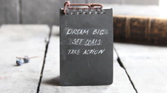 Dream Big Set Goals Take Action, Inspirational Business quote Stock Footage