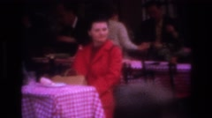 1967: woman sitting tablecloth pretty dress PARIS FRANCE Stock Footage