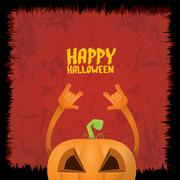 Pumpkin rock n roll style halloween greeting card Stock Illustration