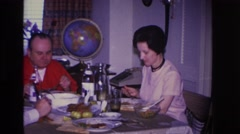 1966: family sitting down to a nice dinner. HOBOKEN NEW JERSEY Stock Footage
