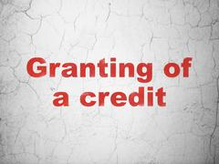 Banking concept: Granting of A credit on wall background Stock Photos
