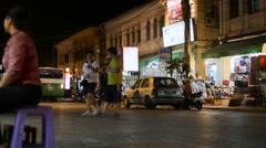 SIEM REAP, CAMBODIA -  Night street life in Siem Reap. Road Stock Footage