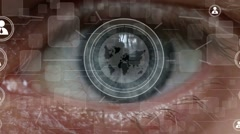 Eye screen to reveal an animation of her social network Stock Footage