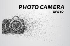 The camera of the particles. Photo camera consists of small circles. Stock Illustration