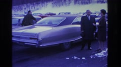 1966: people came to the party in the old fashioned car HOBOKEN NEW JERSEY Stock Footage