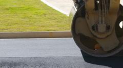 Asphalt Roller Smooths Pavement Drive Left Stock Footage