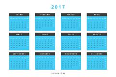 Calendar 2017 in Spanish simple modern. Stock Illustration