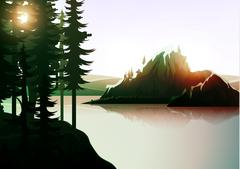 Nature landscape, mountain forest and lake. Stock Illustration