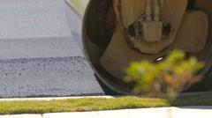 Close Up Asphalt Roller Smooths Pavement Drive Left Stock Footage