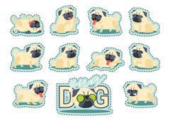 Cartoon character pug dog poses. Piirros