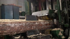Wood industry. View of log sawing, close-up Stock Footage