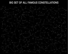 Big set of all famous constellations, modern astronomical signs of the zodiac. Stock Illustration