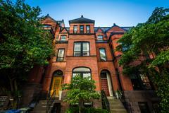 Brick row houses in the West End, Washington, DC. Stock Photos