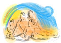 Family at beach Stock Illustration