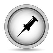 Pin icon. Internet button on white background.. Stock Illustration