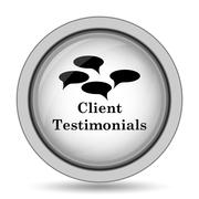 Client testimonials icon. Internet button on white background.. Stock Illustration
