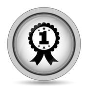 First prize ribbon icon. Internet button on white background.. Stock Illustration