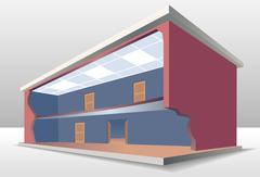 The building cross section Stock Illustration