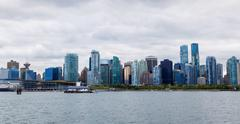 Panorama of Vancouver Downtown Skyline From Stanley Park Stock Photos