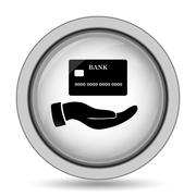 Hand holding credit card icon. Internet button on white background.. Stock Illustration
