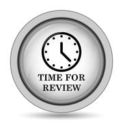 Time for review icon. Internet button on white background.. Stock Illustration
