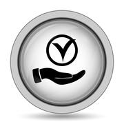 Tick with hand icon. Internet button on white background.. Piirros