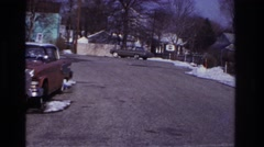 1966: car makes u-turn on road. HOBOKEN NEW JERSEY Stock Footage