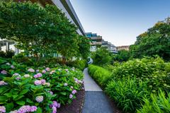 Gardens and walkway outside the Embassy of Sweden, in Washington, DC. Stock Photos