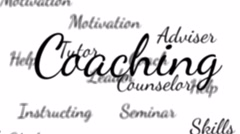 Coaching and mentoring words background loop with matte Stock Footage