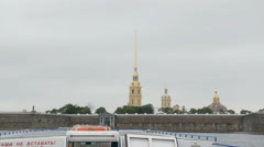City sights in St Petersburg. A view of the Peter and Paul Fortress from a river Stock Footage