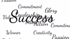 Success words background loop with matte Stock Footage