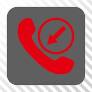 Incoming Call Rounded Square Button Stock Illustration