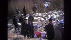 1966: police and people at a devastated grassland. HOBOKEN NEW JERSEY Stock Footage